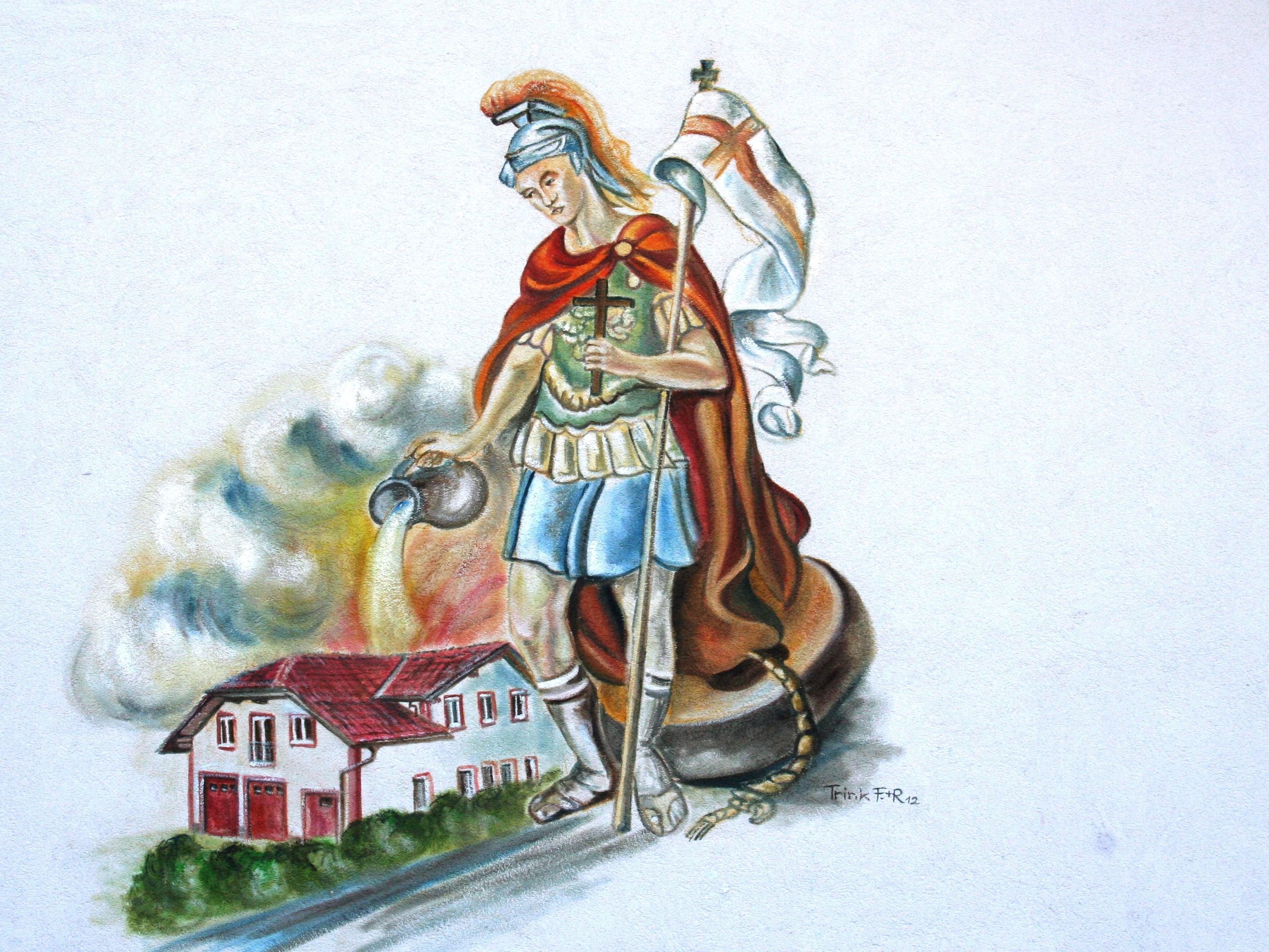 Bild des Hl. Florian auf der Fassade des Dornbacher Feuerwehrhaus